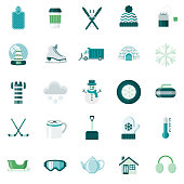 A set of 25 winter flat design icons on a transparent background. File is built in the CMYK color space for optimal printing. Color swatches are Global for quick and easy color changes.