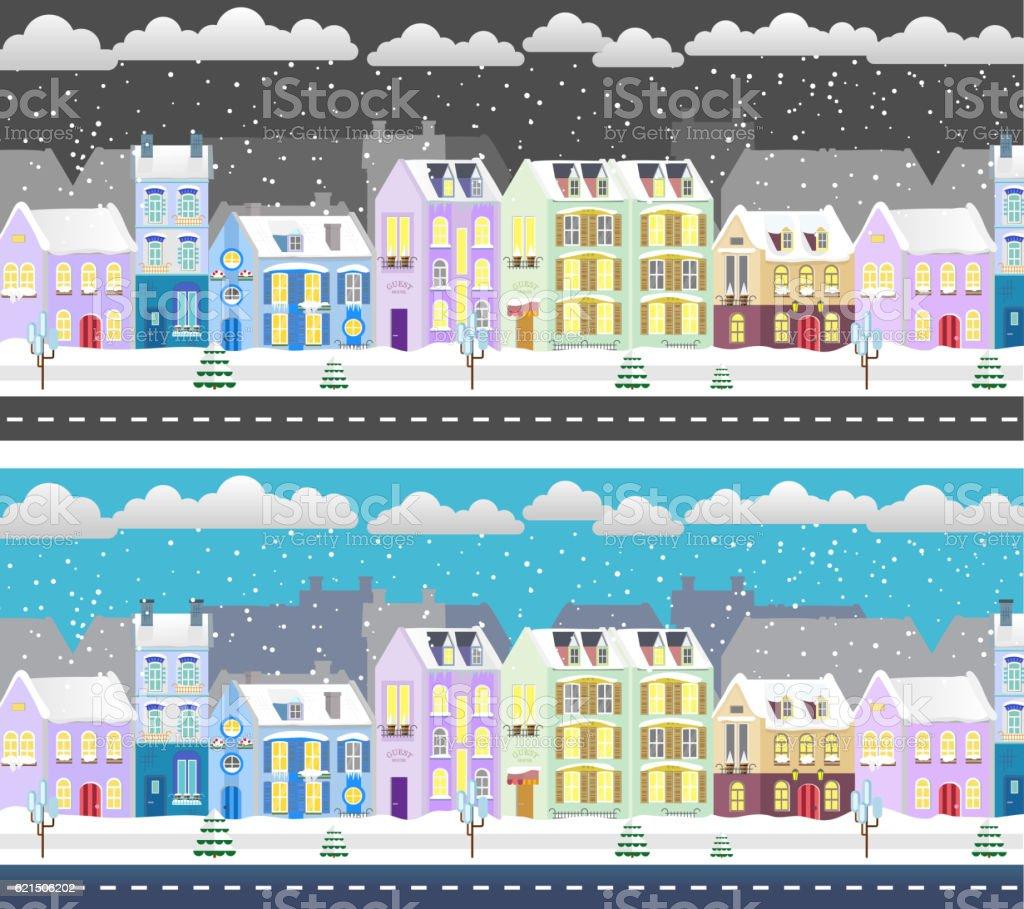 Winter flat design urban landscape illustration. Day and night city winter flat design urban landscape illustration day and night city – cliparts vectoriels et plus d'images de abstrait libre de droits
