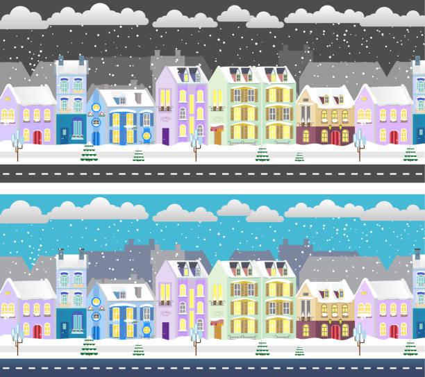 Winter flat design urban landscape illustration. Day and night city vector art illustration