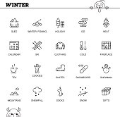 Winter flat icon set.