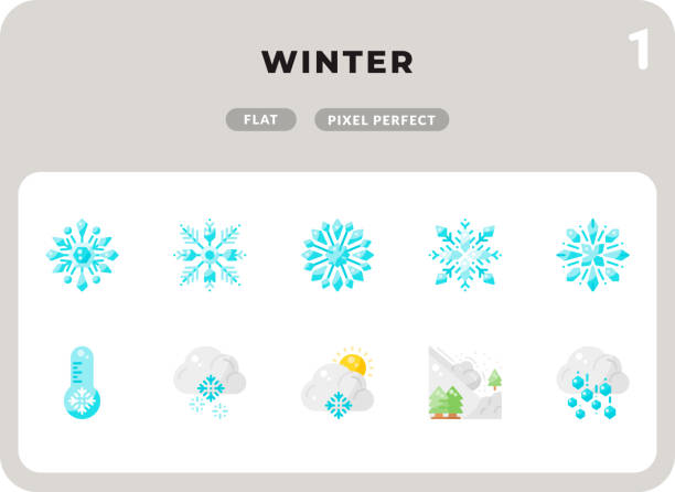 Winter Flat  Icons Pack for UI. Pixel perfect thin line vector icon set for web design and website application. Winter Flat  Icons Pack for UI. Pixel perfect thin line vector icon set for web design and website application. hailstorm stock illustrations