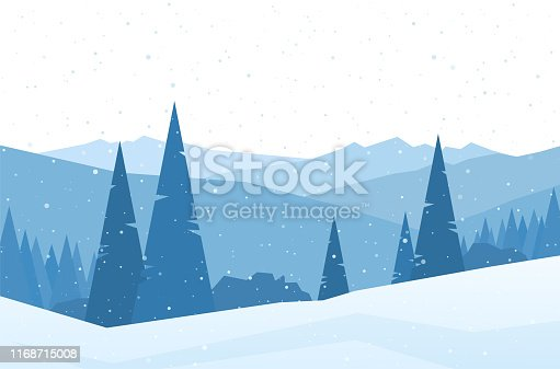 Vector illustration: Winter flat Mountains landscape with snowy hills and pines. Christmas background