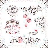 Winter flourishes with with typography design, Christmas balls, gift box, bird and deers. Vector file.