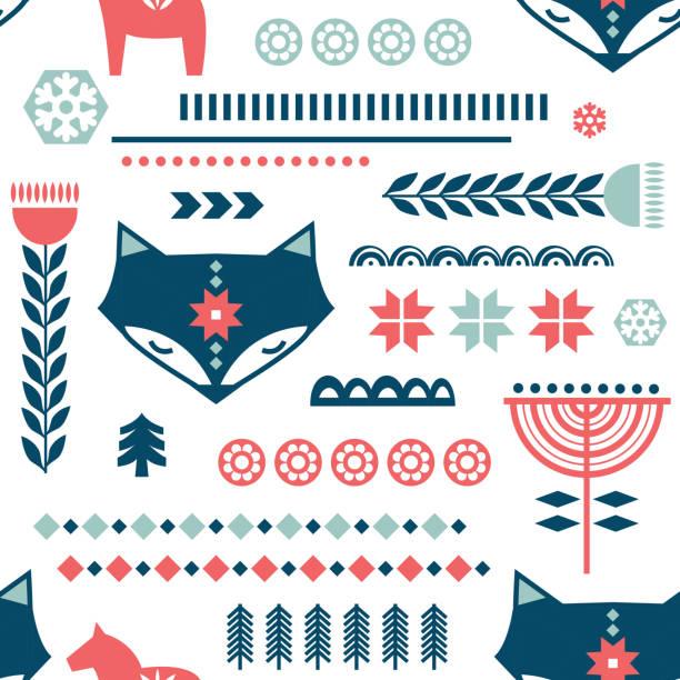 bildbanksillustrationer, clip art samt tecknat material och ikoner med vinter folkkonst sömlöst mönster i skandinavisk, nordisk stil. - swedish nature