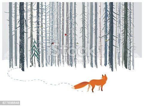 istock Winter forest and Fox. 677698848