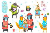 Winter Forest Animals Drinking Tea Clip art