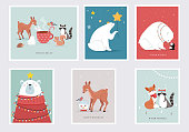 Winter forest animals, Merry Christmas greeting cards, posters with cute bear, birds, bunny, deer, mouse and penguin. Hand drawn vector illustrations