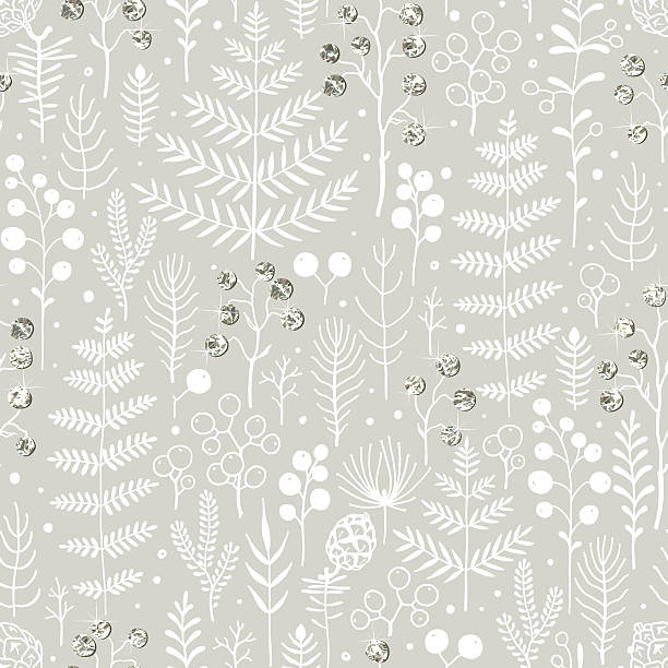 winter forest background with white silhouettes and silver decorations. - gartenfolie stock-grafiken, -clipart, -cartoons und -symbole