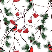 Winter forest Christmas seamless vector pattern