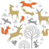 Winter forest design elements