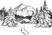 Winter forest in mountains, sketch. Black and white vector illustration of snowy firs, pines, peak and house. Hand drawn winter scene, line art.