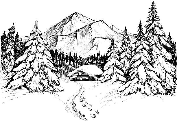 Best Black White Snow Scene Silhouette Illustrations