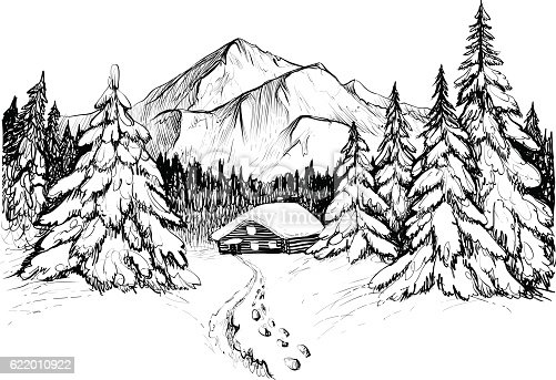 Winter Forest In Mountains And House Sketch Stock Vector ...