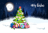 Winter Forest Landscape With Christmas Tree And Presents Holidays Banner Flat Vector Illustration