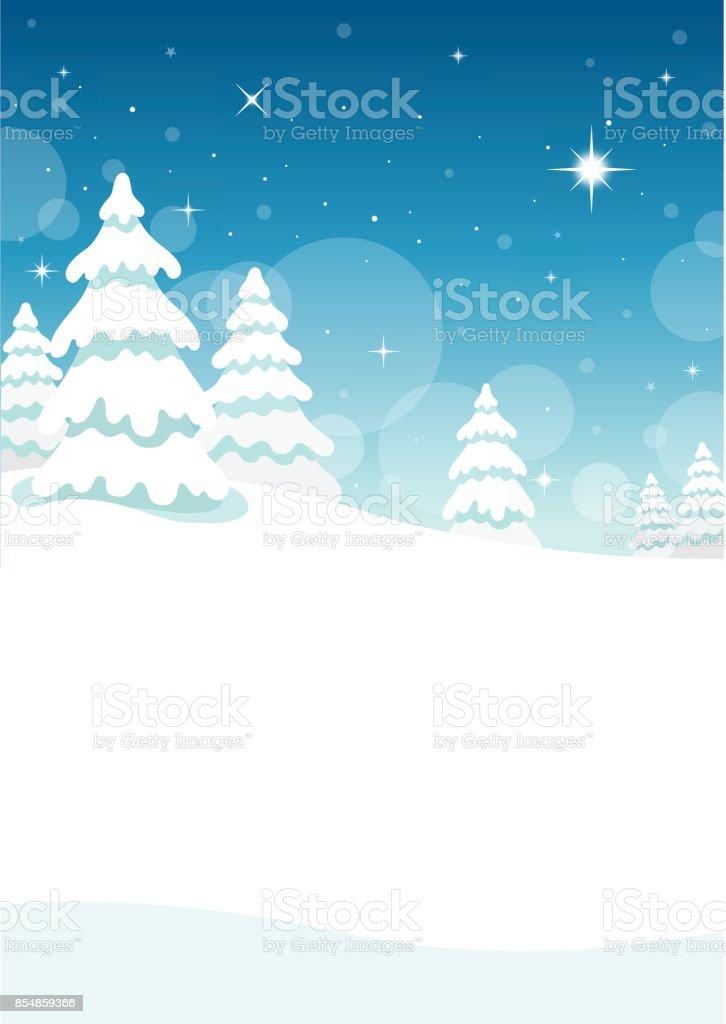 Winter forest night vector art illustration