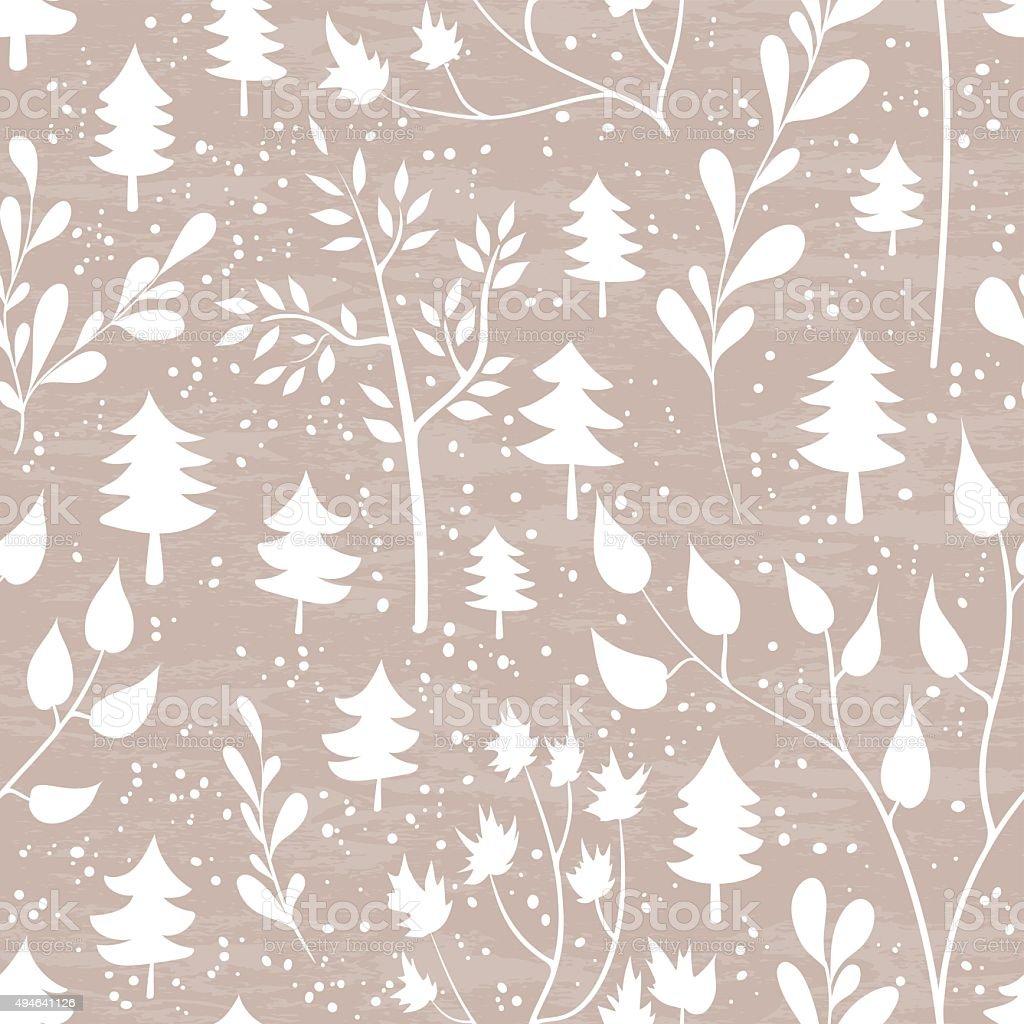 Winter forest seamless pattern. vector art illustration