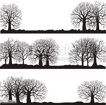 winter forest landscapes, silhouette of trees and grass, landscapes template, hand drawn vector illustartion