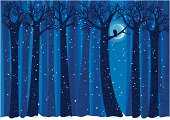 winter woods with owl and snow