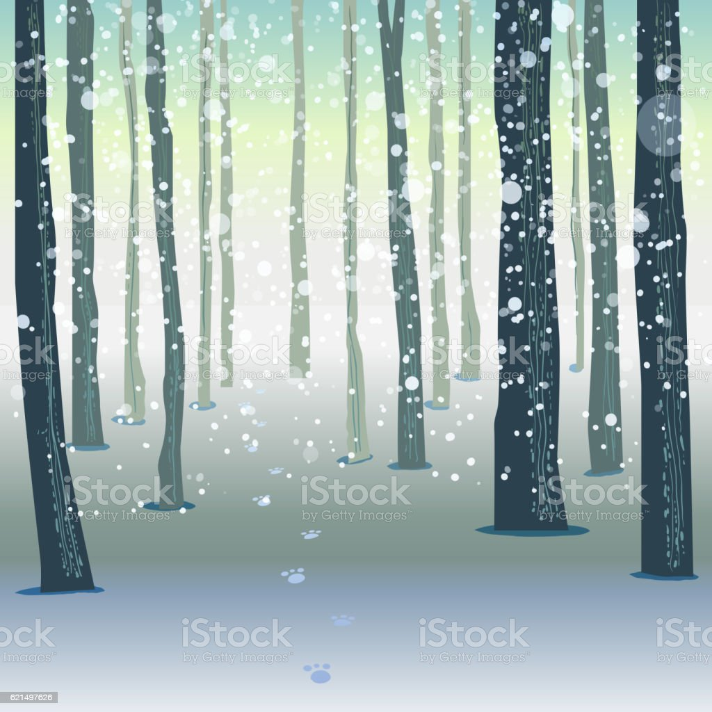 Winter forest vector illustration Lizenzfreies winter forest vector illustration stock vektor art und mehr bilder von baum