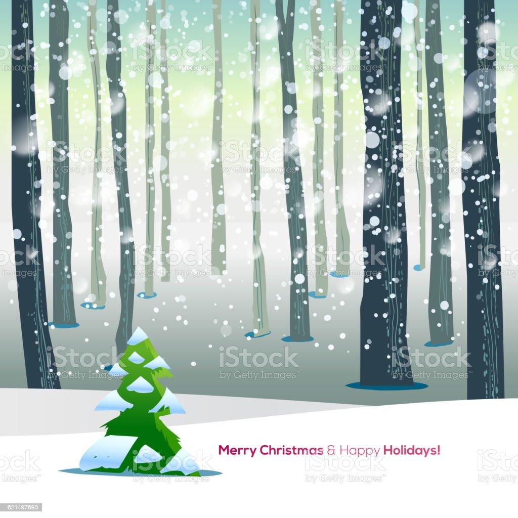 Winter forest with text greetings winter forest with text greetings – cliparts vectoriels et plus d'images de arbre libre de droits