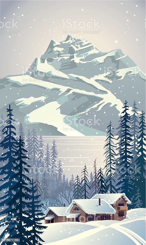 Winter forest with trees. vector art illustration