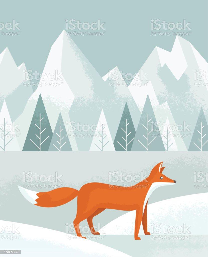 冬のギツネ のイラスト素材 472377227   istock