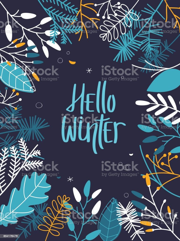 Winter Frame with Leaves and Branches - Dark Background vector art illustration