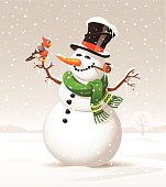 A snowman and a bird on a snowy winter day. EPS 10- image contains transparencies, grouped and labeled in layers.