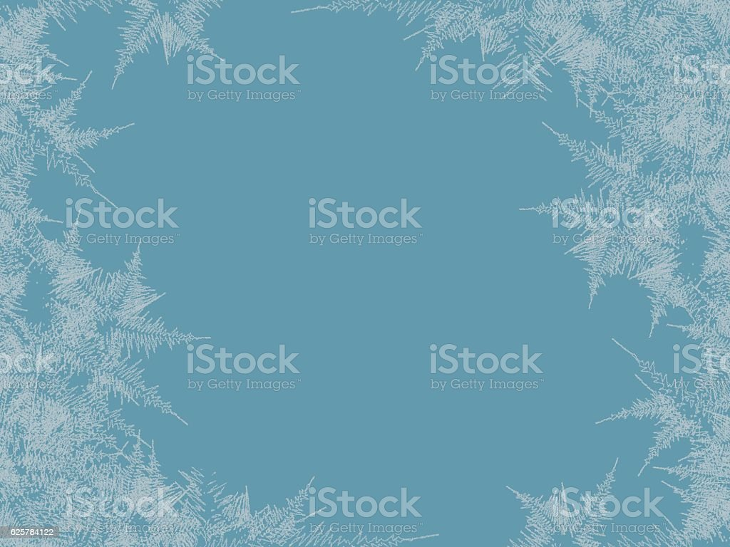 Winter frosted window background. Freeze and wind at the glass