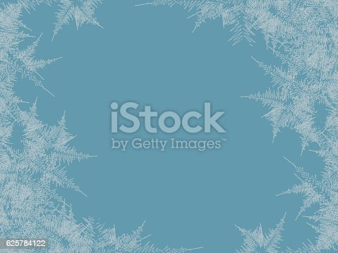 Winter frosted window background. Freeze and wind at the glass. Vector illustration