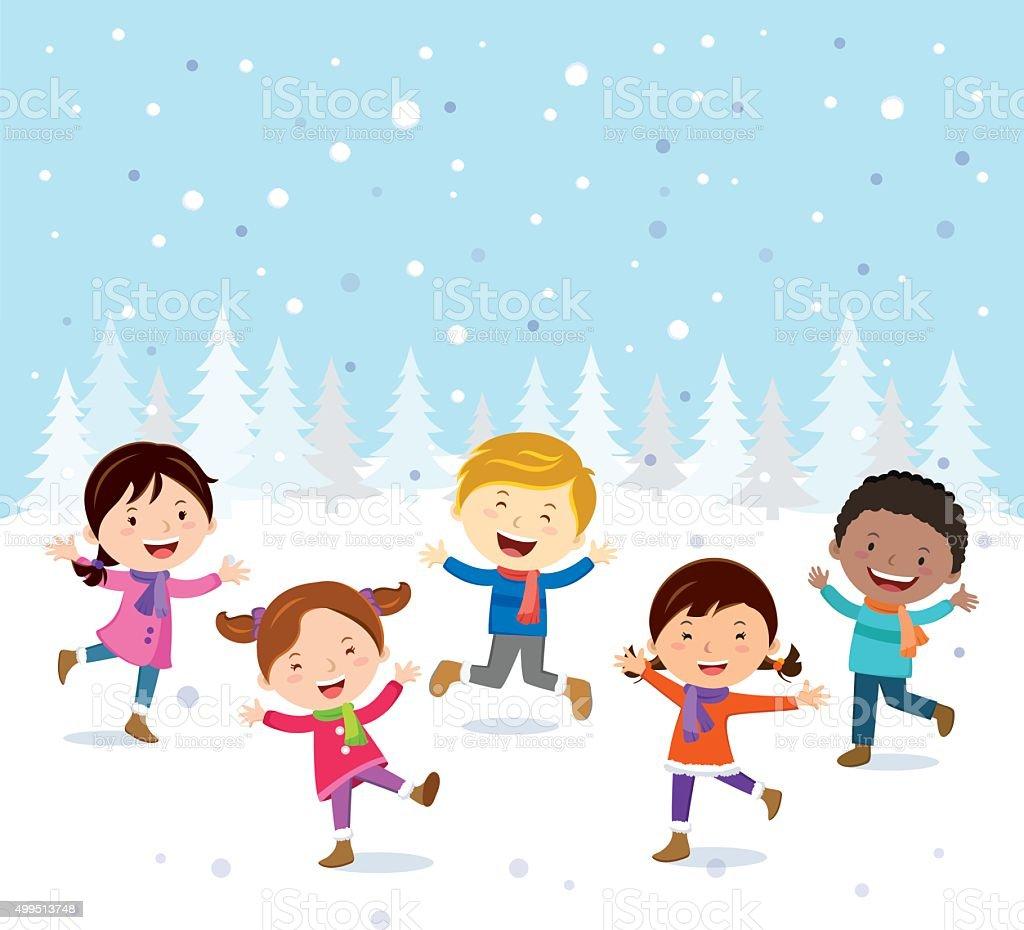 Linverno Allegro Bambini Che Giocano Nella Neve Immagini