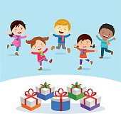 Winter fun. Cheerful kids with gifts.
