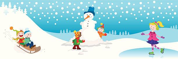 Winter fun cute kids vector art illustration