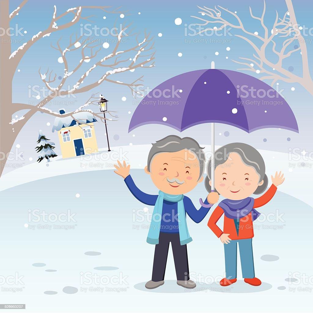 冬のお楽しみいただけます高齢者のカップル身ぶりでお楽しみください の