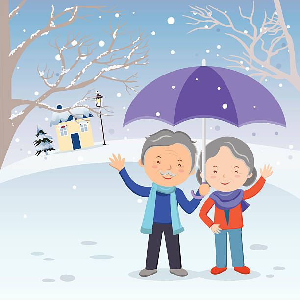 bildbanksillustrationer, clip art samt tecknat material och ikoner med winter fun. elderly couple gesturing in the snow. - middle aged man dating