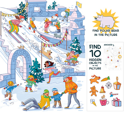 Winter fun. Find 10 hidden objects in the picture