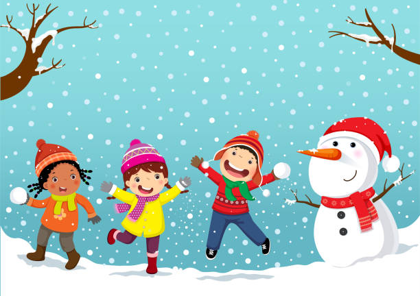 Winter fun. Happy children playing in the snow Winter fun. Happy children playing in the snow christmas fun stock illustrations