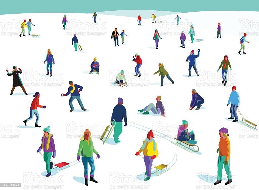 Diversão de inverno na neve - ilustração de arte em vetor