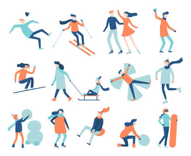 stockillustraties, clipart, cartoons en iconen met winter leuke mensen. sneeuw festival spelen, sleeën en snowboards. kerst familie ski scènes vector set schaatsen - family winter holiday