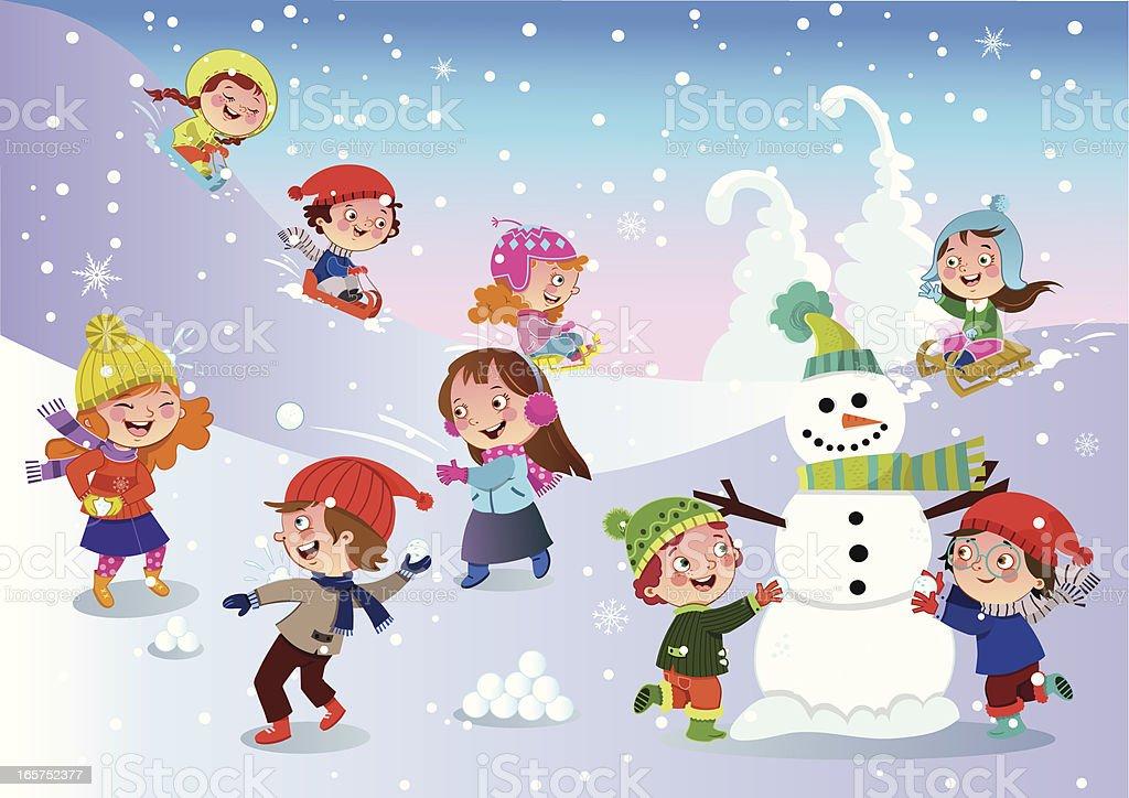 Diversão de inverno - ilustração de arte em vetor