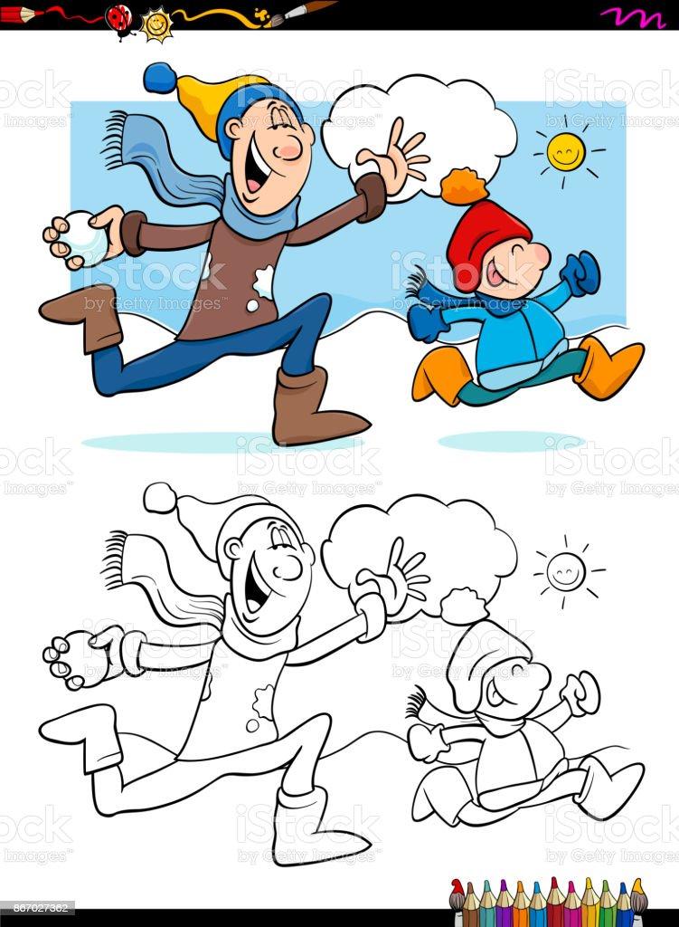 Kış Eğlence Ile Aile Boyama Kitabı Stok Vektör Sanatı Anaokulunin