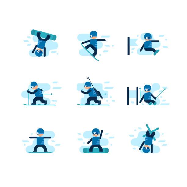 Winter-Spiele. Skifahren und Snowboarden – Vektorgrafik
