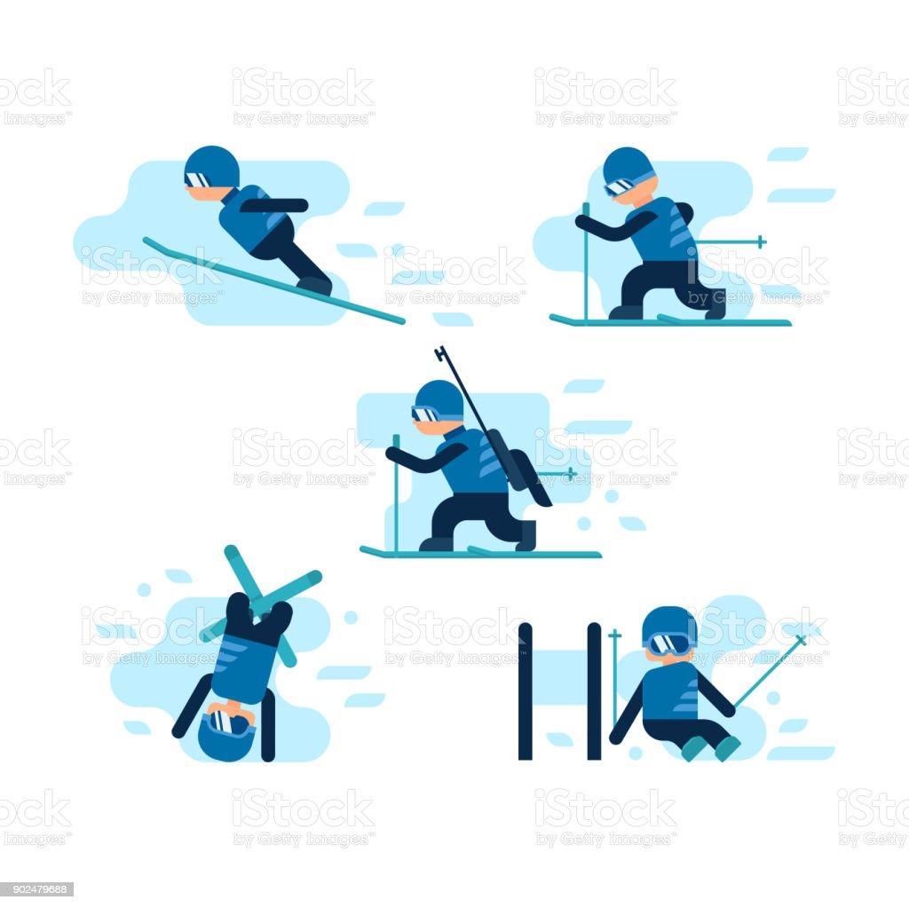 Winter-Spiele. Skifahren – Vektorgrafik