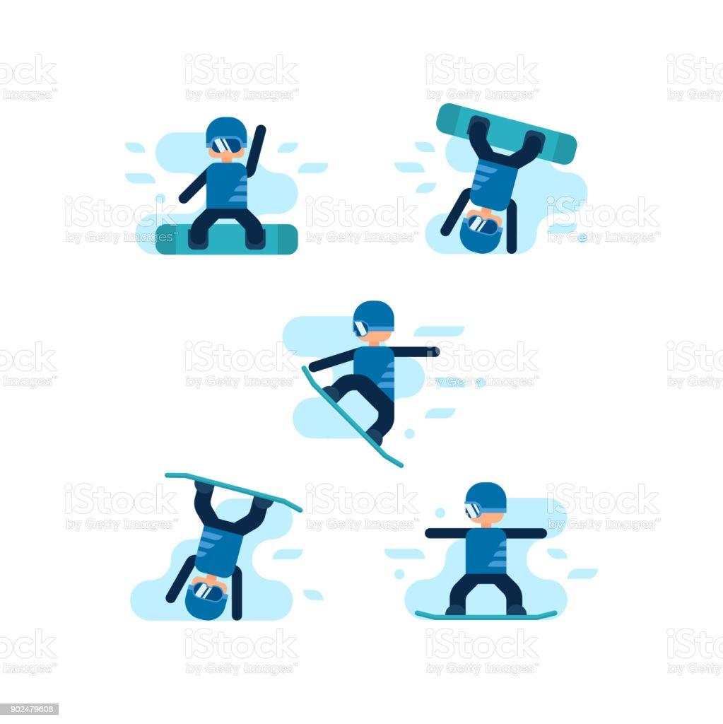 Winter-Spiele. Snowboarden – Vektorgrafik