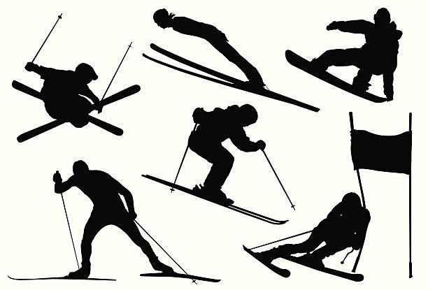 olympische winterspiele - skifahren stock-grafiken, -clipart, -cartoons und -symbole
