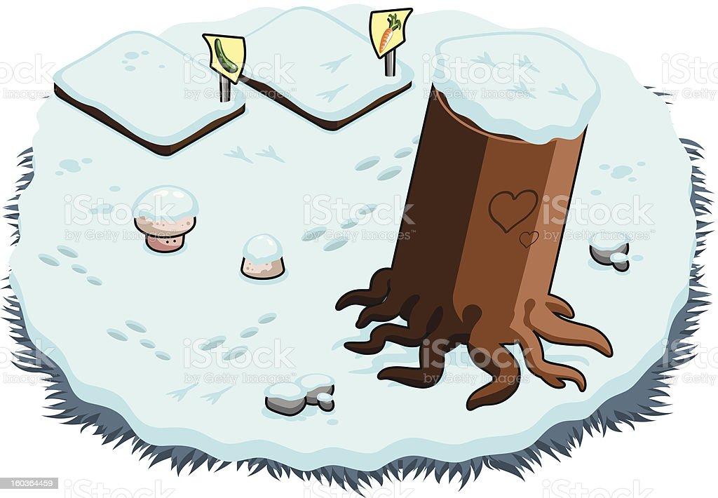 Winter garden with beds and mushrooms under snow (vector) vector art illustration