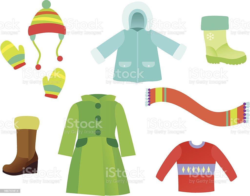 Winter Garments vector art illustration