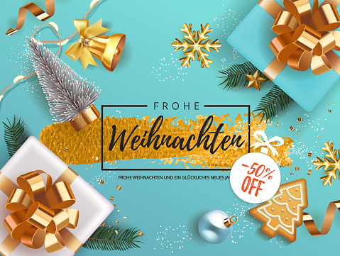 Winter German Frohe Weihnachten translate Merry Christmas Holiday banner with gift box decorated with Christmas tree branches, balls, gingerbread, oranges. bell snowflakes snow. Xmas festive card