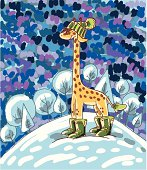 Giraffe wearing a hat, boots and mittens against the of a winter landscape.