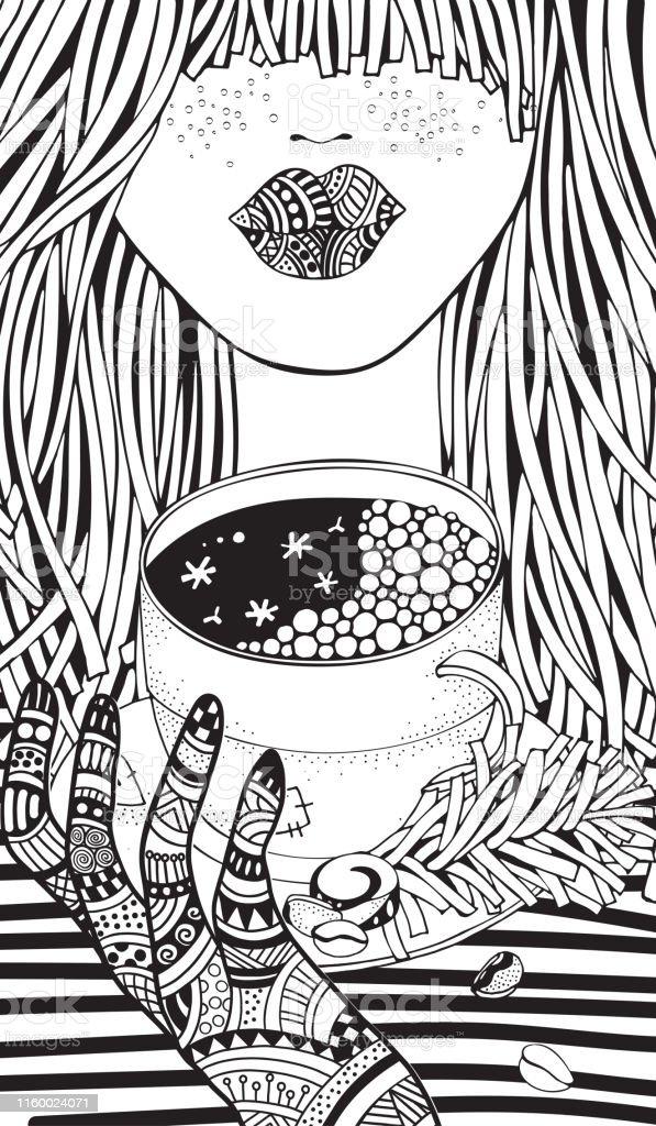Fille Dhiver Page De Livre De Coloriage Dadulte Garnir De Cafe Chaud Illustration De Vecteur Dessinee A La Main Modele De Noel Pour Le Livre De Coloriage Vecteurs Libres De Droits Et